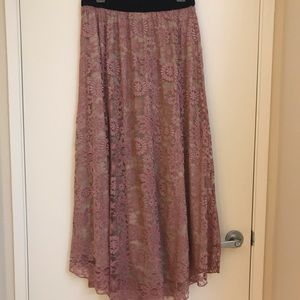 Dusty Rose Long Lace Skirt. LuLaRoe Lucy Medium